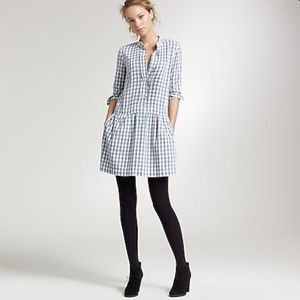 J.Crew Gingham Sundrine flannel shirt dress size 0